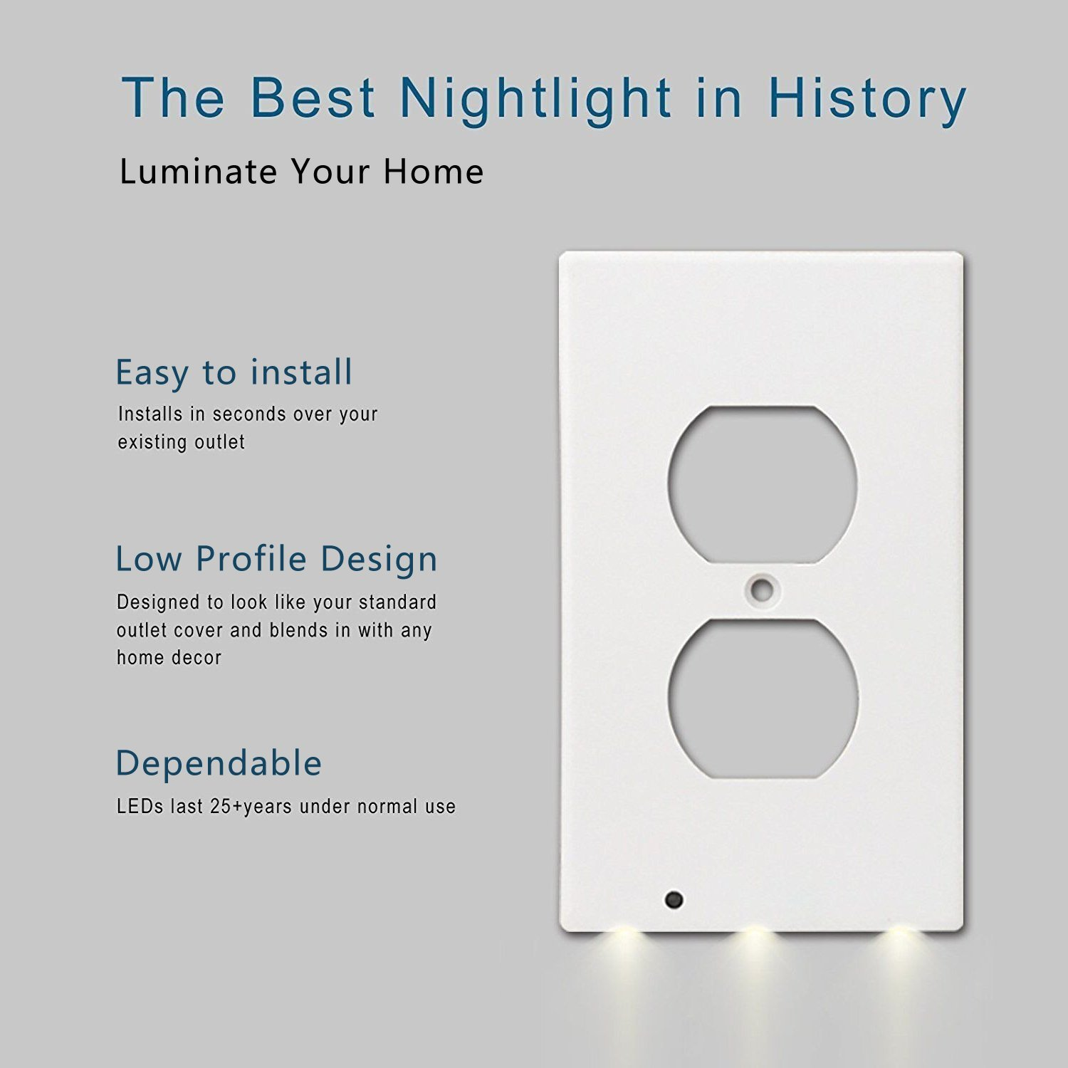 Exgreem GuideLight Wall Plates - Best Energy Saving LED Night Lights Wall Outlet Cover- Fireproof Material- No Batteries Or Wires, White (10 Pack Duplex)