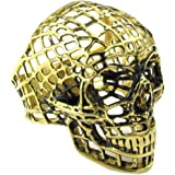 Konov Jewellery Mens Stainless Steel Ring, Biker Gothic Hollow Skull, Color Gold (with Gift Bag)