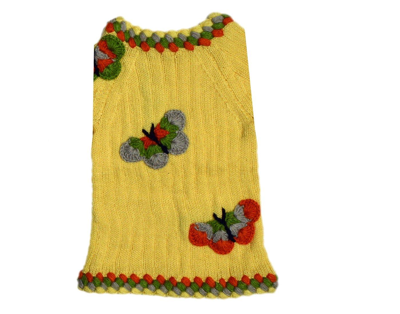 f6df49822 Hand Knitted Woolen Winter yellow Butterfly Girls Top Sweater!! 3-4 ...
