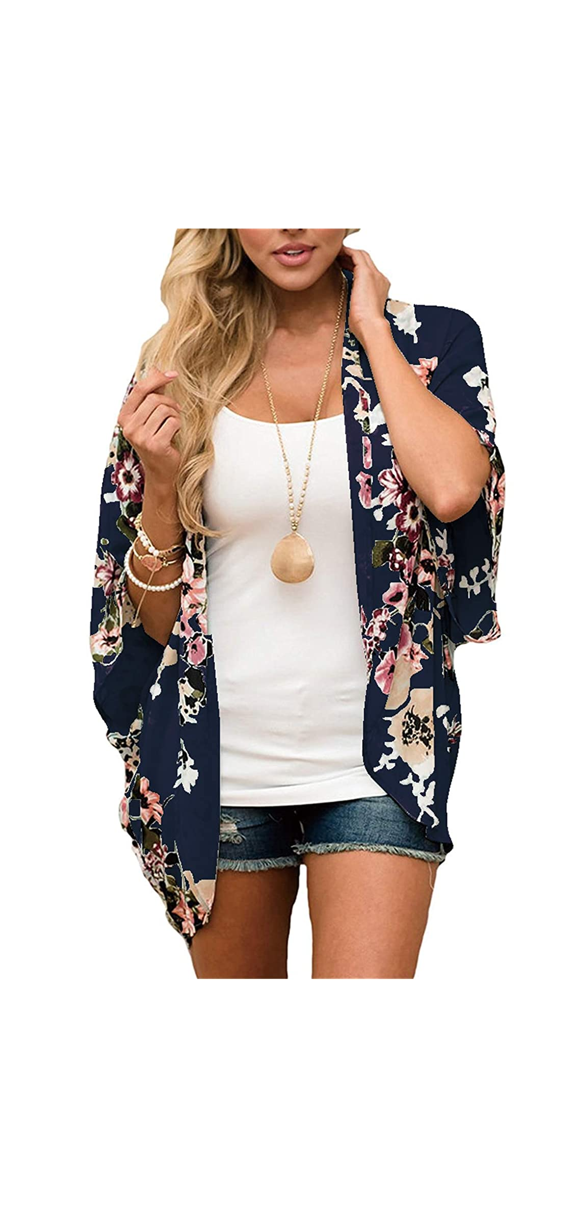 Women Floral Kimono Cardigan Chiffon Casual Loose Open Front Up