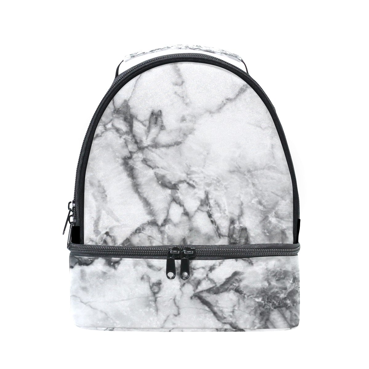 20e08656b87d Vantaso Insulated Lunch Box Bag White Grey Marble Texture for Women ...