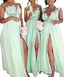 Beilite Women's Lace Sheer Bridesmaid Dress Chiffon Long High Split Evening Gown