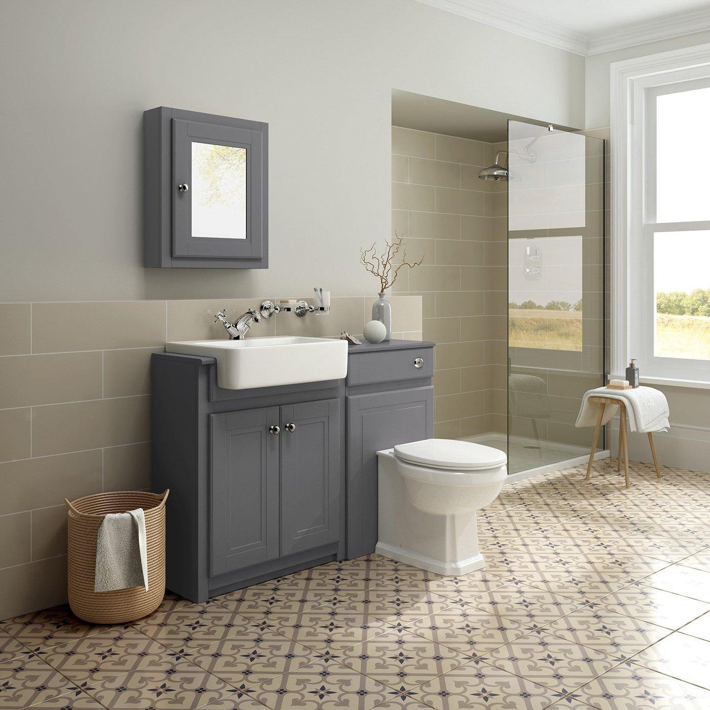 1100mmbined Vanity Unit Toilet Basin Grey Bathroom Furniture Storage  Sink: Ibathuk: Amazon: Kitchen & Home