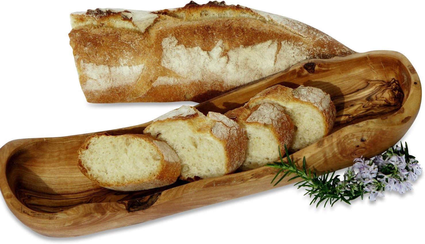 30 cm Brotkorb Brotkasten Echtholz Brot Korb Design Olivenholz Brotschale ca