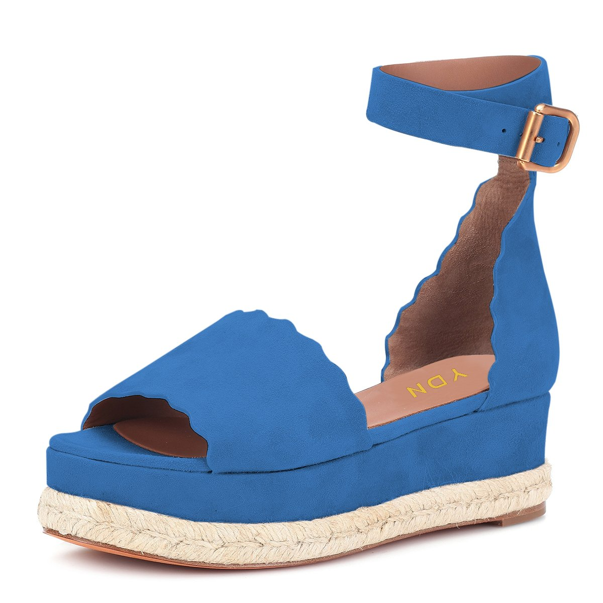 YDN Women Espadrille Peep Toe Ankle Straps Wedge Sandals Low Heels Platform Shoes with Buckle B07DCNP5DF 15 M US|Blue
