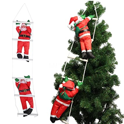 yosoo two santa claus climbing on rope ladder for christmas tree indoor outdoor hanging ornament decor