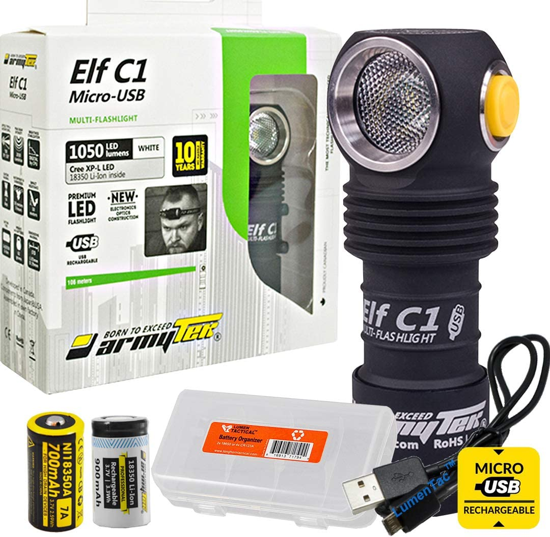ArmyTek Elf C1 Micro-USB Rechargeable 1050 Lumens Magnetic Tailcap Multi-Use Headlamp, LumenTac USB Cable and Battery Organizer