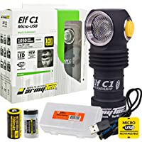 ArmyTek Elf C1 Micro-USB Rechargeable 1050 Lumens Magnetic Tailcap Multi-Use Headlamp, LumenTac USB Cable and Battery…