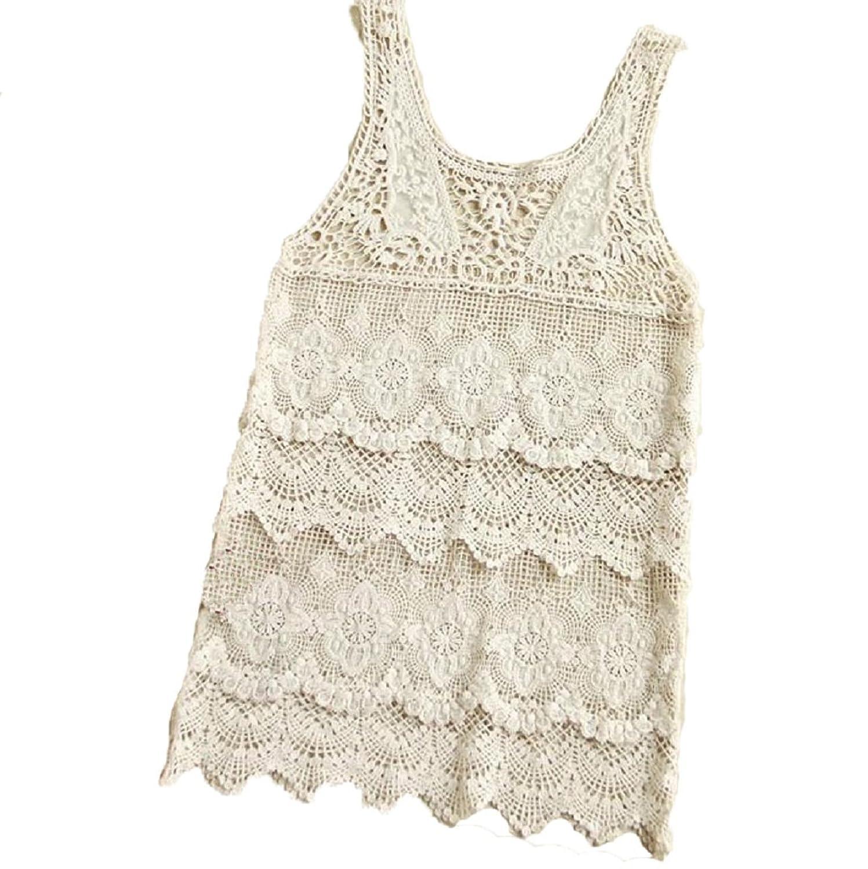 Sannysis Dame Lace Crochet Swimwear Smock-Hemd-Strand-Kleid Sundresses