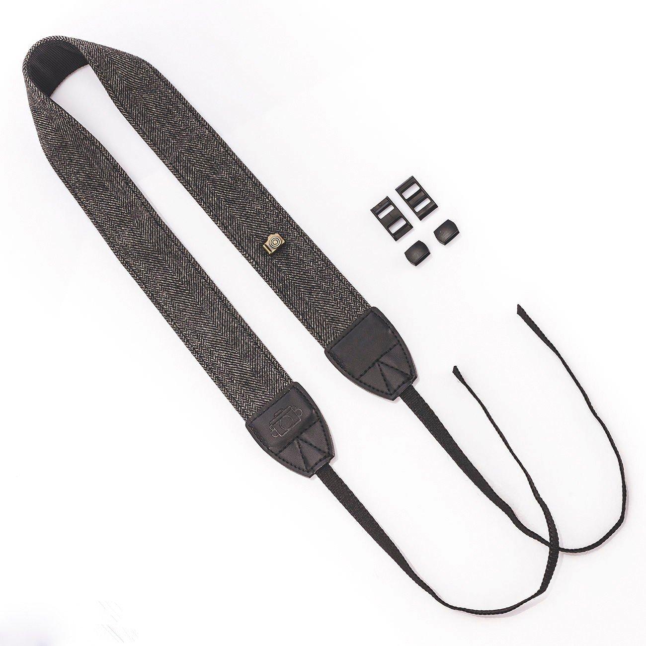 EXMAX® Camera Shoulder Neck Vintage Cotton Strap Belt for Sony Nikon Canon Olympus DSLR Black