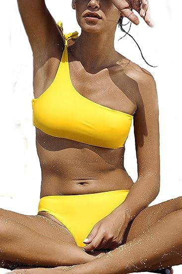 1945fd65d7 Wetopkim womens one shoulder two piece bikini swimwear shouler tie bikini  swimsuit wirefree