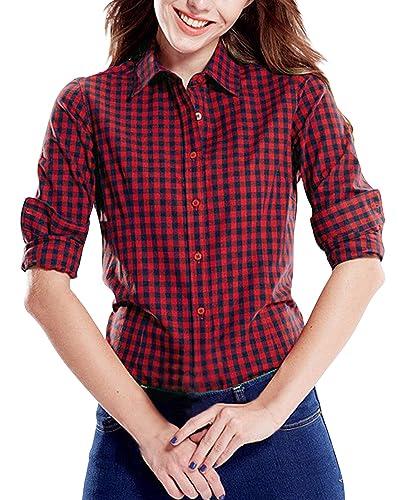 StyleDome Blusa Camisa Casual Elegante Oficina Algodón a Cuadros Cuello Clásico Mangas Largas Mujer