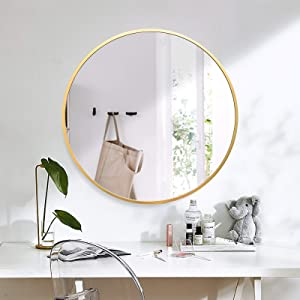 GLSLAND Circle Mirror 24 Inch Gold Vintage Round Wall Mounted Mirror Large Round Vanity Mirror for Bathrooms, Entryways, Living Rooms and More Full Circle Mirror for Wall Decor