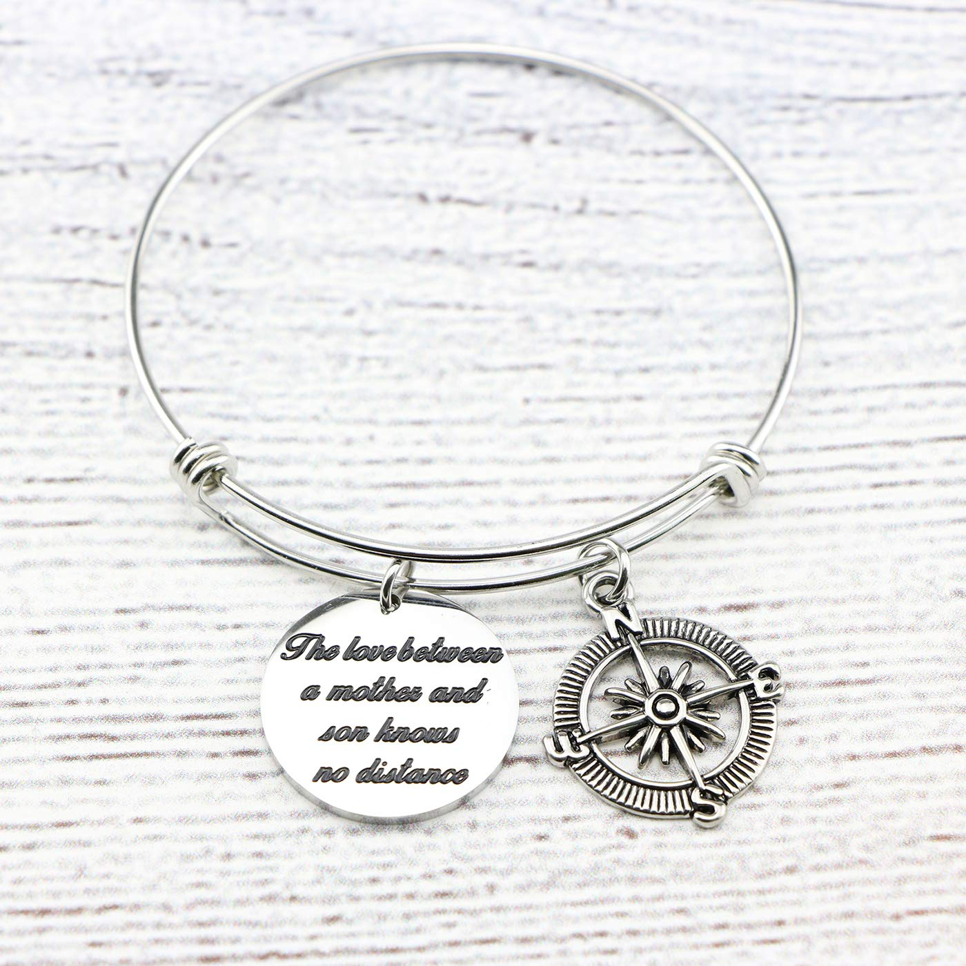 Memgift Gift for Mother Stainless Steel Bracelet The Love Between a Mother and Son Knows No Distance by Memgift (Image #3)
