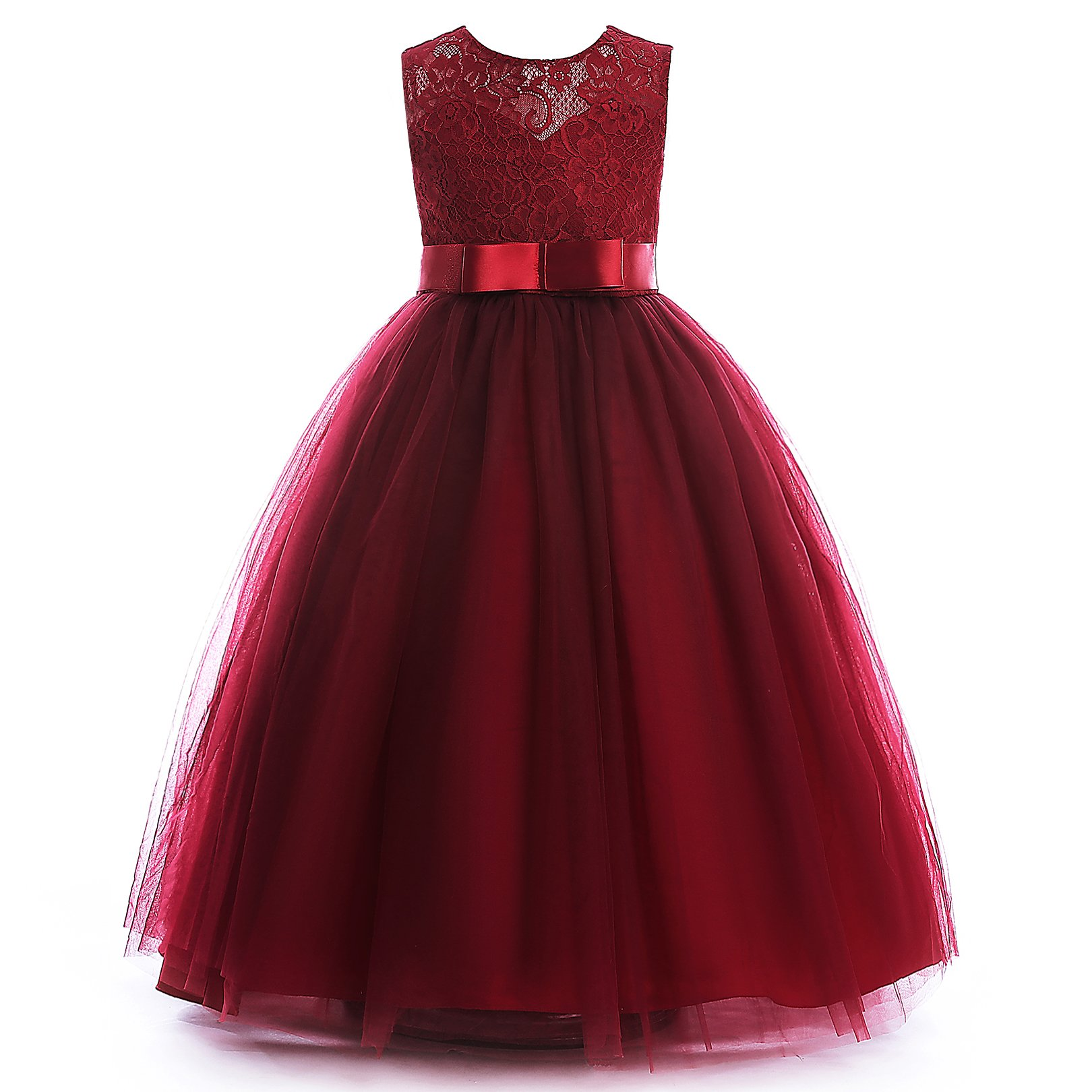 Glamulice Girls Lace Bridesmaid Dress Long A Line Wedding Pageant Dresses Tulle Party Gown Age 3-16Y (3-4Y, O-Wine Red)