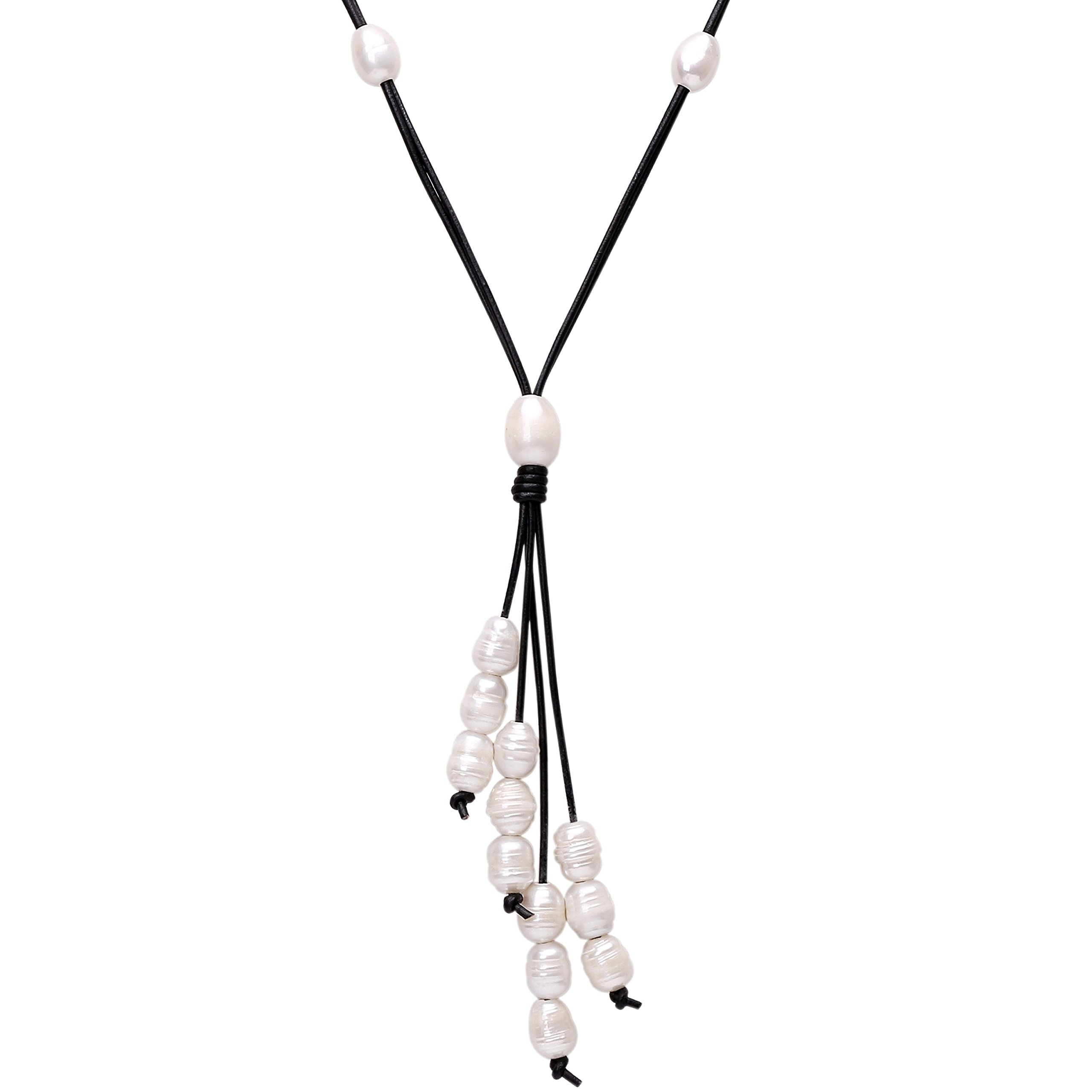 PearlyPearls Long Freshwater Cultured Pearl Necklace with Pendant on Leather Cord Y-Shaped Boho Necklace for Women