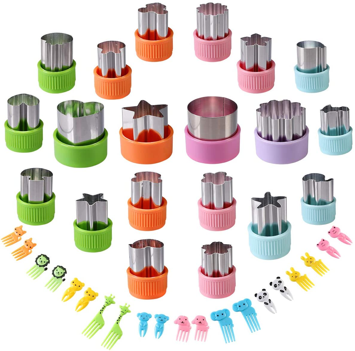 Vegetable Cutters Shapes Set, 20pcs Stainless Steel Mini Cookie Cutters, Vegetable Cutter and Fruit Stamps Mold + 20pcs Cute Cartoon Animals Food Picks and Forks -for Kids Baking and Food Supplement