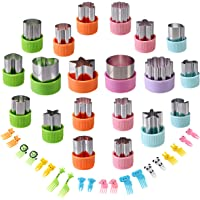 Vegetable Cutters Shapes Set, 20pcs Stainless Steel Mini Cookie Cutters, Vegetable Cutter and Fruit Stamps Mold + 20pcs…