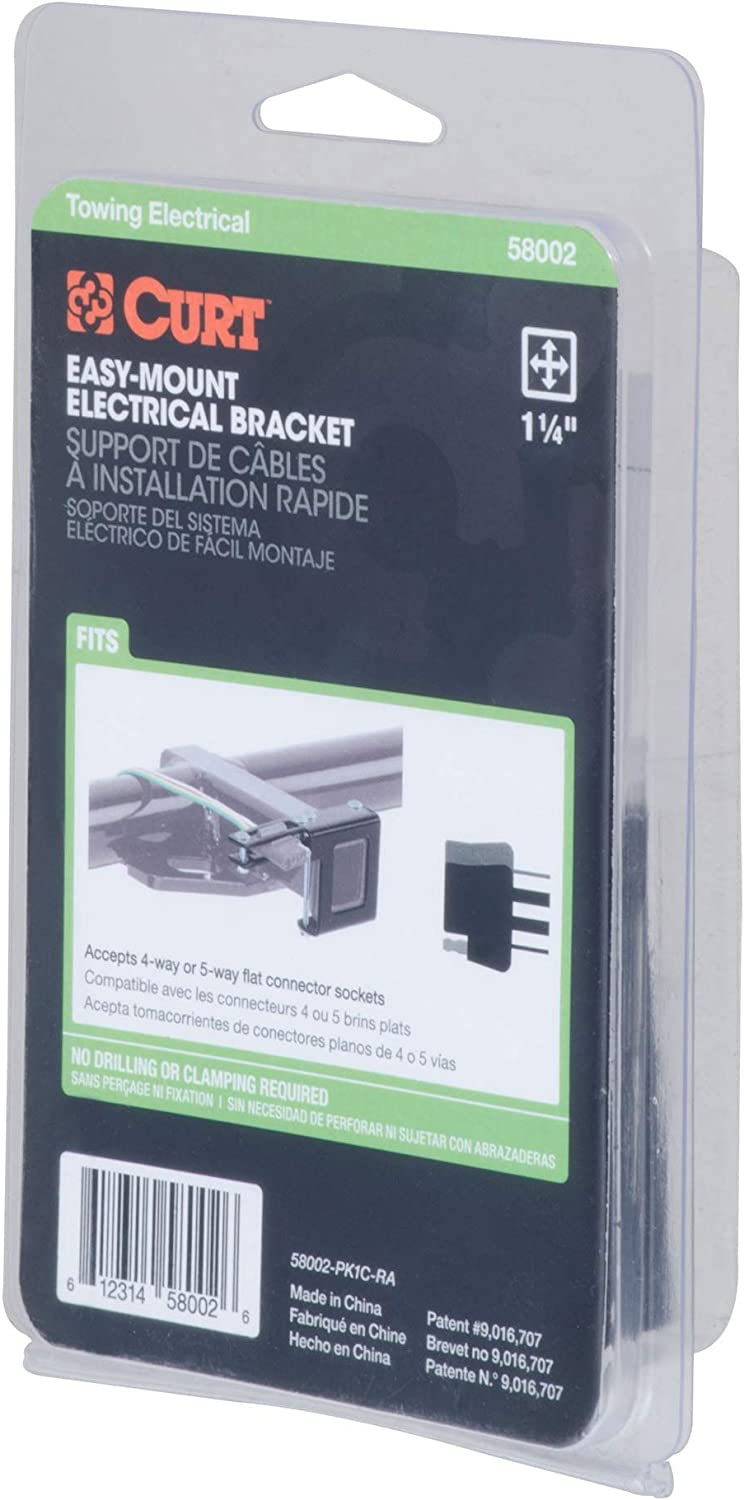 Curt 58002 Easy Mount Electrical Bracket for 1-1//4 Receiver Tube