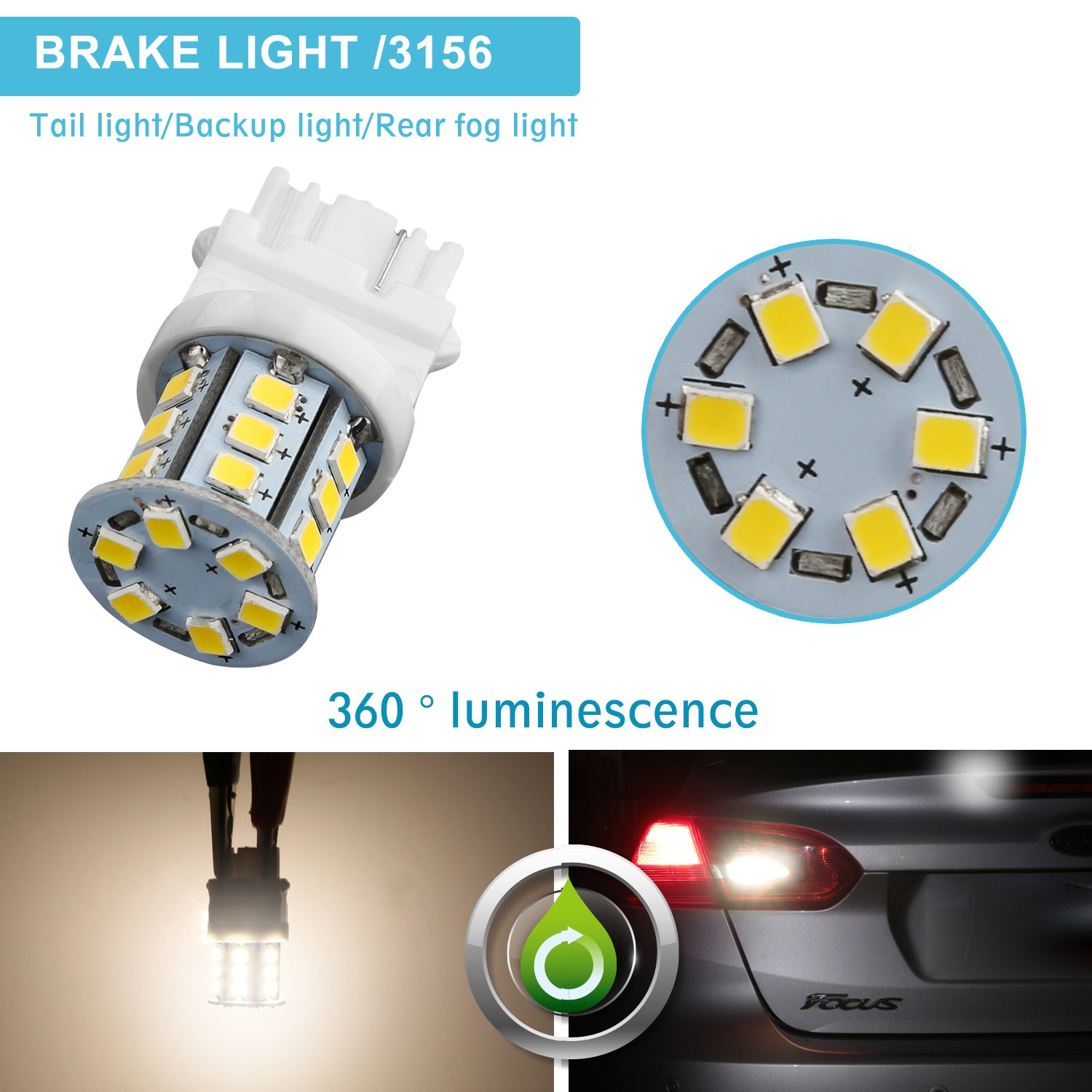 Ziste Led Bulbs For Backup Light 2835smd P27w T25 3156 2007 Ford Mustang Lights Wiring Tail Reverse 6000k Xenon White2 Pack Automotive