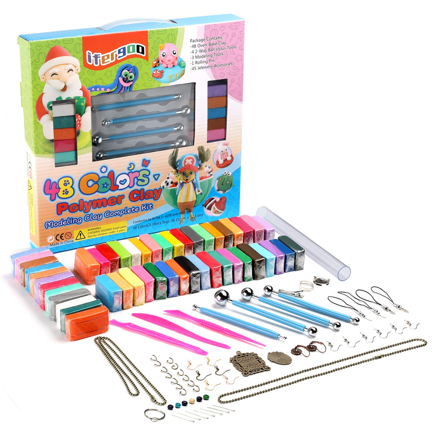 Polymer Clay Kit, 48 Colors Oven Bake Clay, 36 Normal Colors + 12 Colors Special Colors,3 Modeling Tools and 40 Accessories, Safe and Nontoxic DIY Baking Clay Blocks