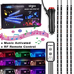 Rainbow Car LED Strip Light - New Update Car Interior Led Lights, Waterproof Music Under Dash Lighting Kits, RF Remote Control Unique Colorful Dynamic Car Interior Lights, Car Charger Included