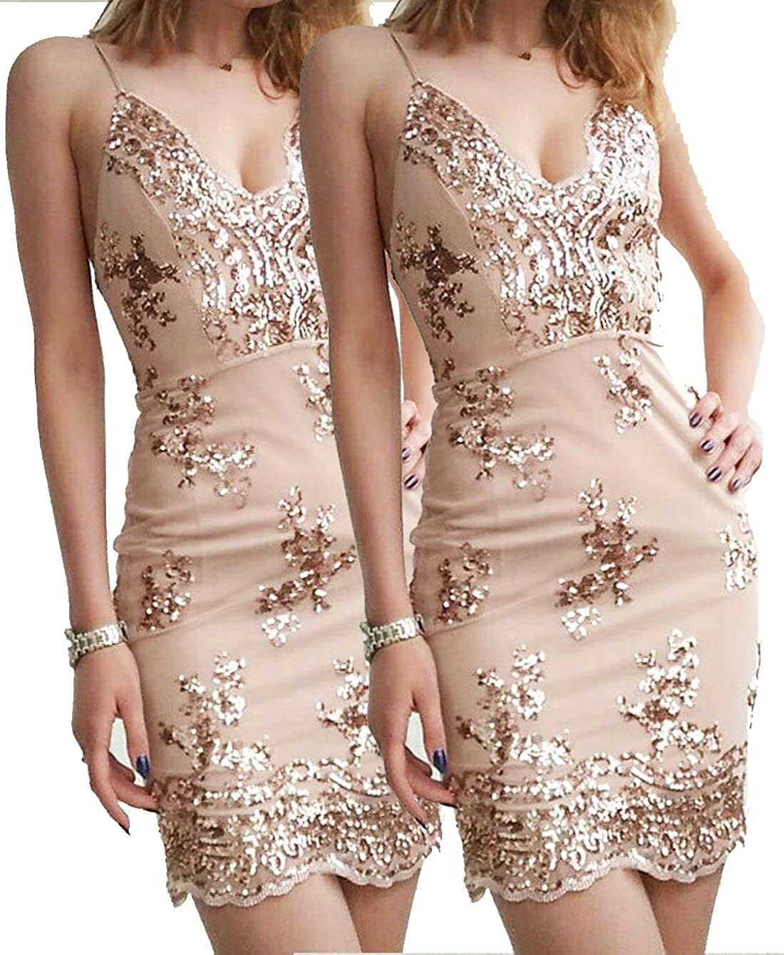 58bc0121f3 YOLI Women's Sexy Backless Sparkling Sequins Floral Clubwear Party Bodycon  Mini Dress