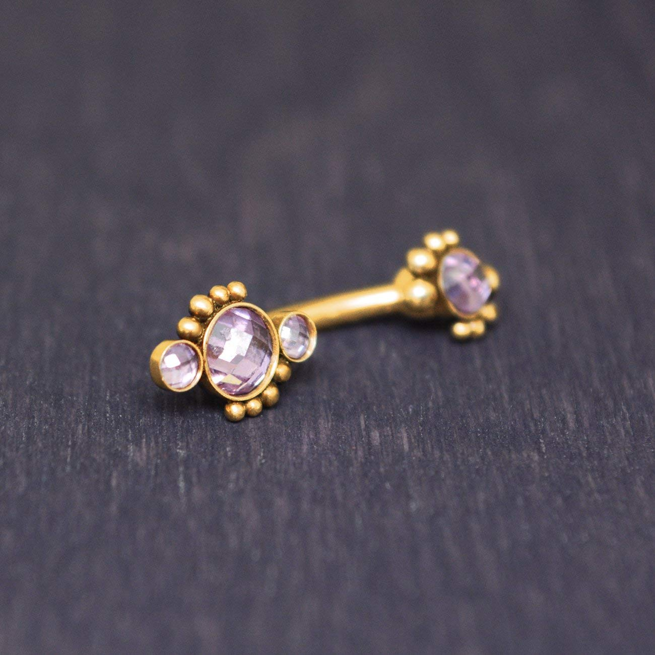 13//32 1.6mm Long 5 11mm Jewelry by Sweet Pea SGSS Curv BB w Upside Down Gem Charm 14G