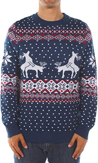 Tipsy Elves Men's Ugly Christmas Sweater Reindeer Climax Tacky Christmas Sweater Blue