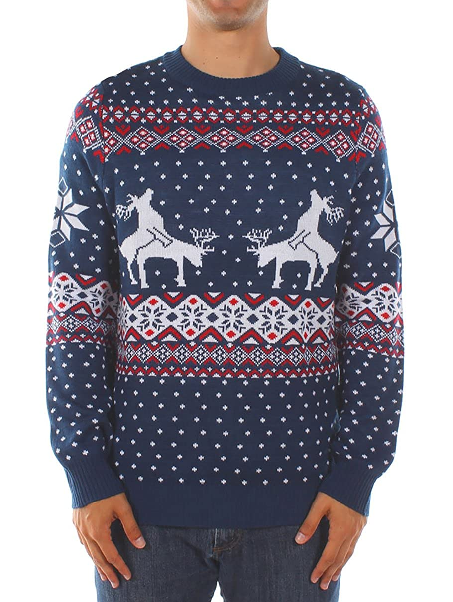 Amazon.com: Tipsy Elves Men's Ugly Christmas Sweater - Reindeer Climax  Tacky Christmas Sweater Blue: Clothing