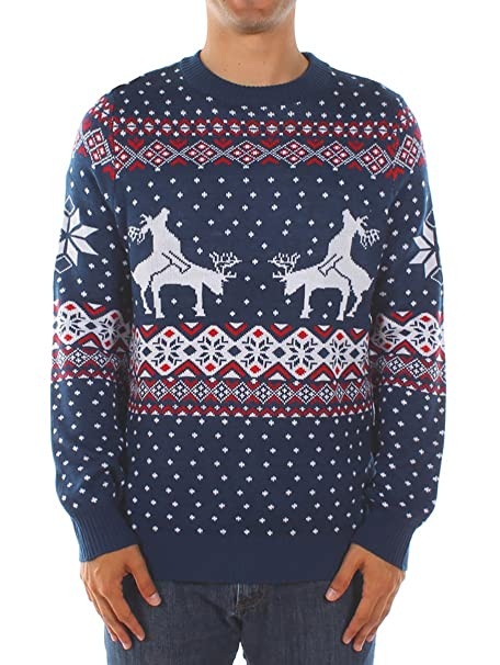 Mens Christmas Sweaters.Tipsy Elves Men S Ugly Christmas Sweater Reindeer Climax Tacky Christmas Sweater Blue