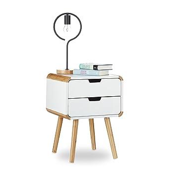 Relaxdays Nachttisch 2 Schubladen, Holz Nachtschrank, Platzsparende  Schlafzimmer Kommode, HxBxT: 55 X