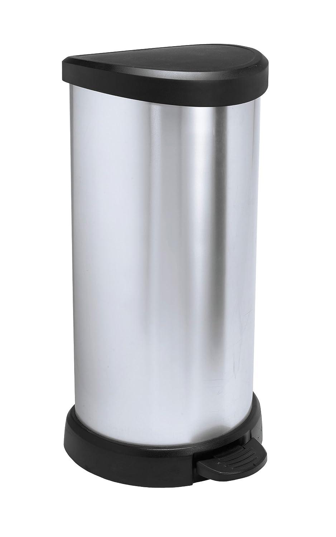 Keter Deco Bin's D-Shape a Pedale, 40 Litres, Plastica, Argento, 31x35x70 cm 181125_