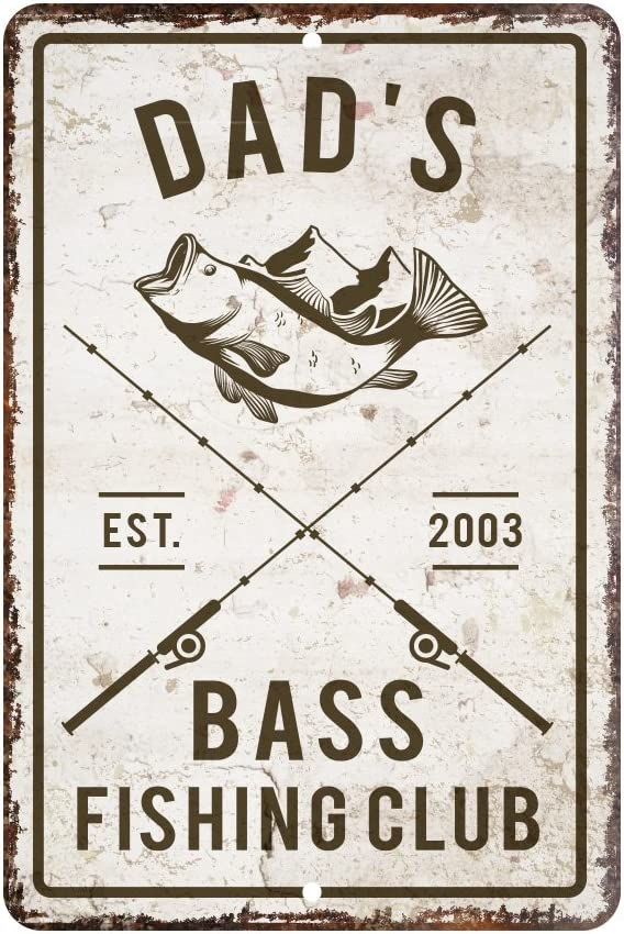 Pattern Pop Personalized Vintage Distressed Look Bass Fishing Club Metal Room Sign