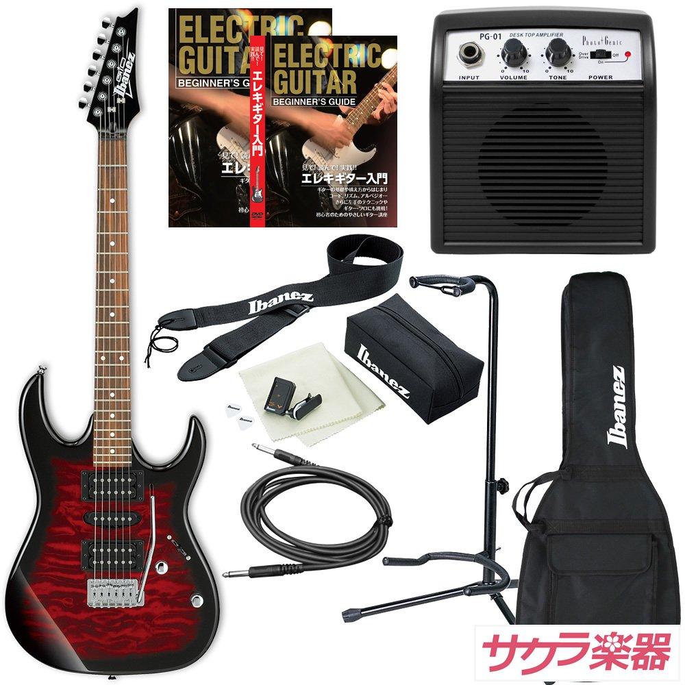 Ibanez アイバニーズ エレキギター GIO Ibanez GRX70QA/TRB ギター入門ミニアンプセット B01N7AOATV  TRB/Transparent Red Burst