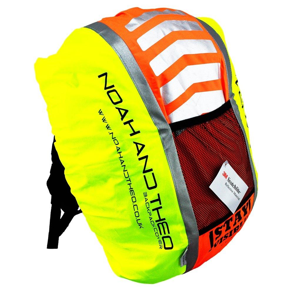 Noah And Theo Covertor de mochila reflectante de alta visibilidad de ciclismo impermeable con tejido 3M Scotchlite y Oxford