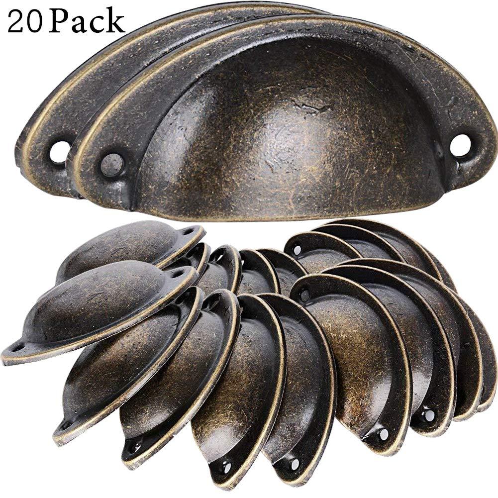 BESTZY 20Pcs 82mm 36mm Shell Manopole del Cassetto Maniglia di Metallo Bronzo Vintage per Porte Armadio Pomello per Fai da Te Mobili