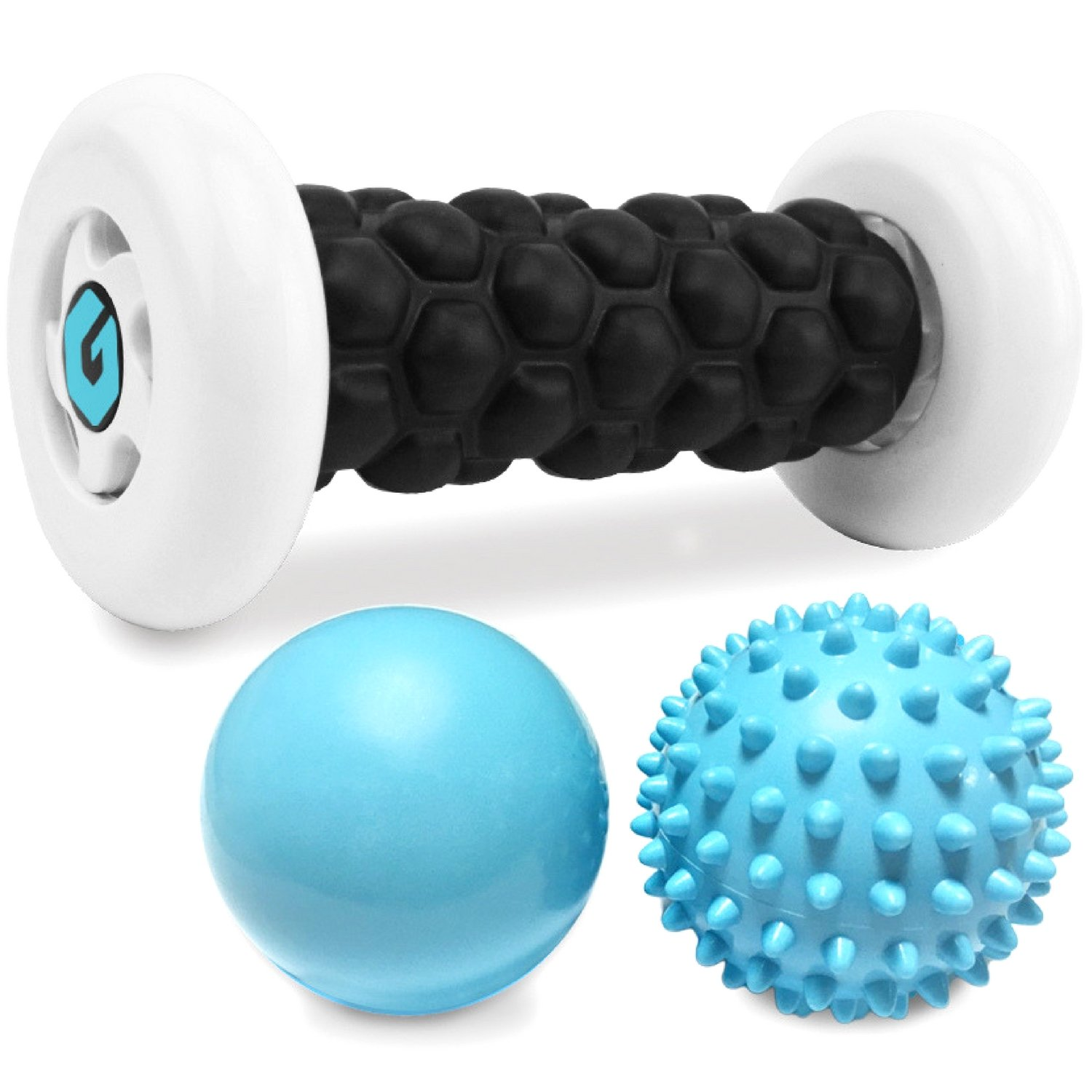 Plantar Fasciitis Foot Recovery Set - Includes Foot Massager Roller and 2 Cold Therapy Massage Balls - Pain Relief via Reflexology, Acupressure, Trigger Point Therapy, Mobility, Myofascial Release by Gillsun Fitness