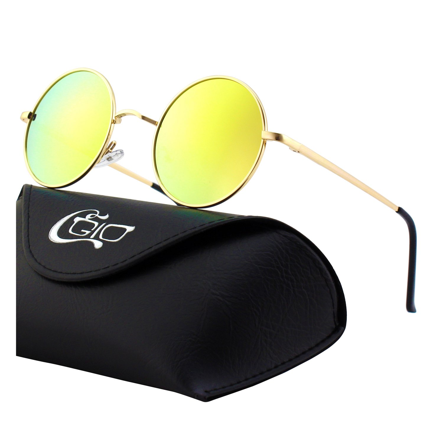 CGID E01 Retro Vintage John Lennon Inspired Round Metal Circle Polarized Sunglasses 17MJ801-1L