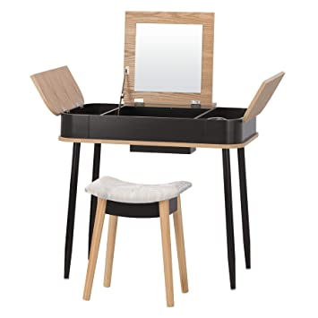 buy online db7ef 79336 Fineboard FB-VT27-BK Vanity Table Set with Stool Retractable Top with  Mirror, Black