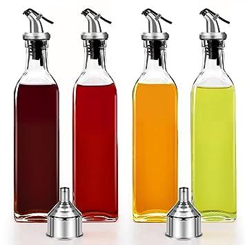 Conjunto de 4 SALSA de aceite y vinagre botella de cristal vino aceite de oliva 250