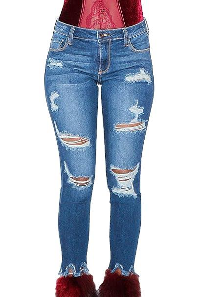 962e05fc2 Fräulein Fox Mujeres Skinny Vaqueros Moda Agujero Roto Cintura Alta Pantalones  Denim Pantalón Puntos Pants Lápiz Trousers  Amazon.es  Ropa y accesorios