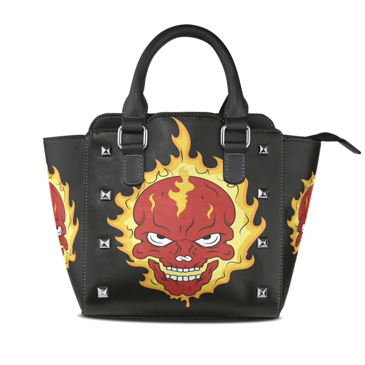 Womens Genuine Leather Hangbags Tote Bags Angry Skull Purse Shoulder Bags