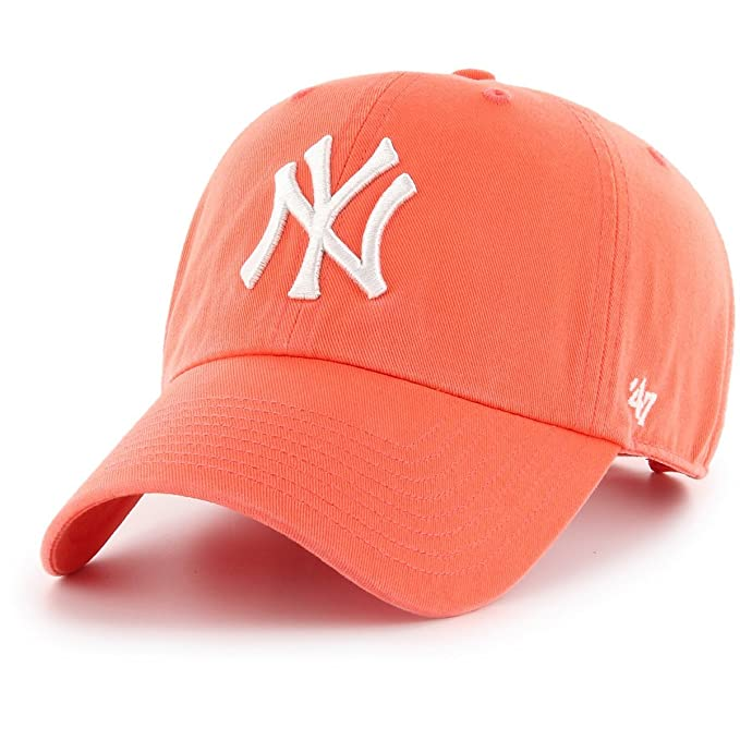 47_brand Gorra Mlb New York Yankees Clean Up Curved V Relax Fit coral talla: Ajustable: Amazon.es: Ropa y accesorios