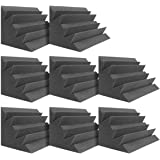 "DEKIRU Acoustic Panels Bass Traps Corner Studio Foam, 8 Pack 12"" X 7"" X 7"" Sound Proof Panels Noise Dampening Wall Soundproof"