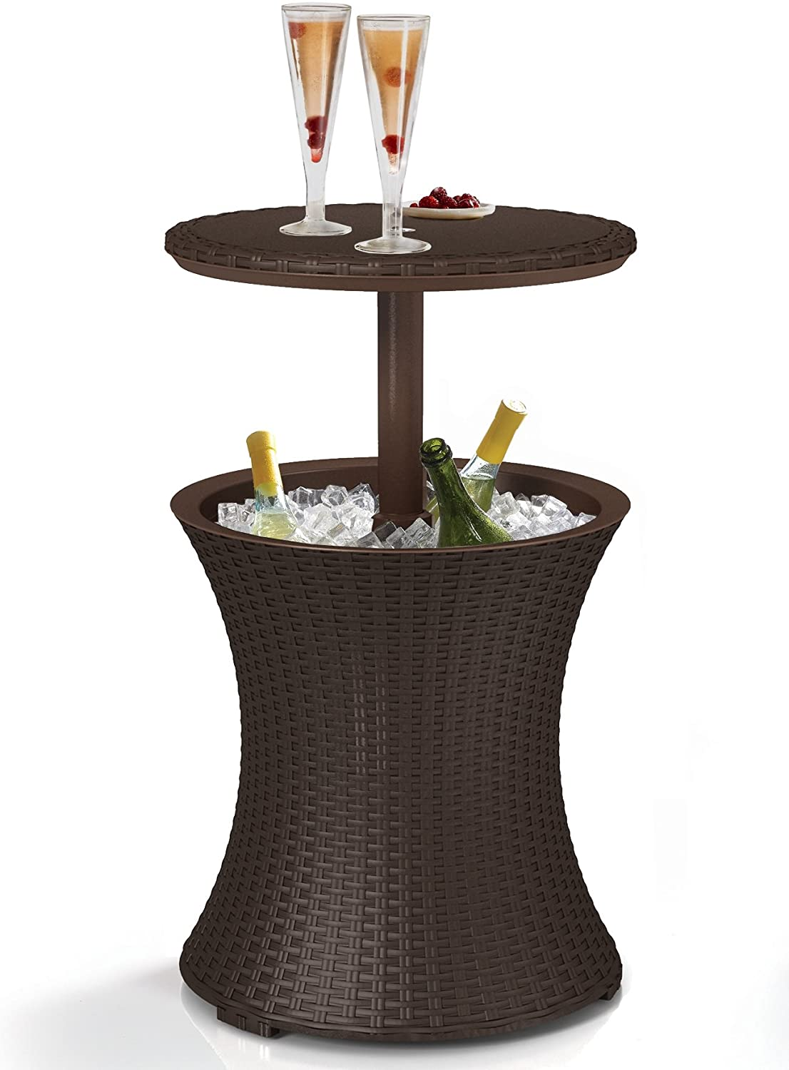 Keter Pacific Cool Bar Outdoor Patio Furniture and Hot Tub Side Table with 7.5 Gallon Beer and Wine Cooler, Brown