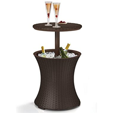 Keter 218305 Outdoor Bar Patio Table with 7.5 Gallon Beer Cooler, Espresso Brown