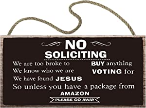vizuzi No Soliciting Wood Sign,12 x 6,Wood Plank Hanging Plaque, No Soliciting Funny Signs for House Door Office Business