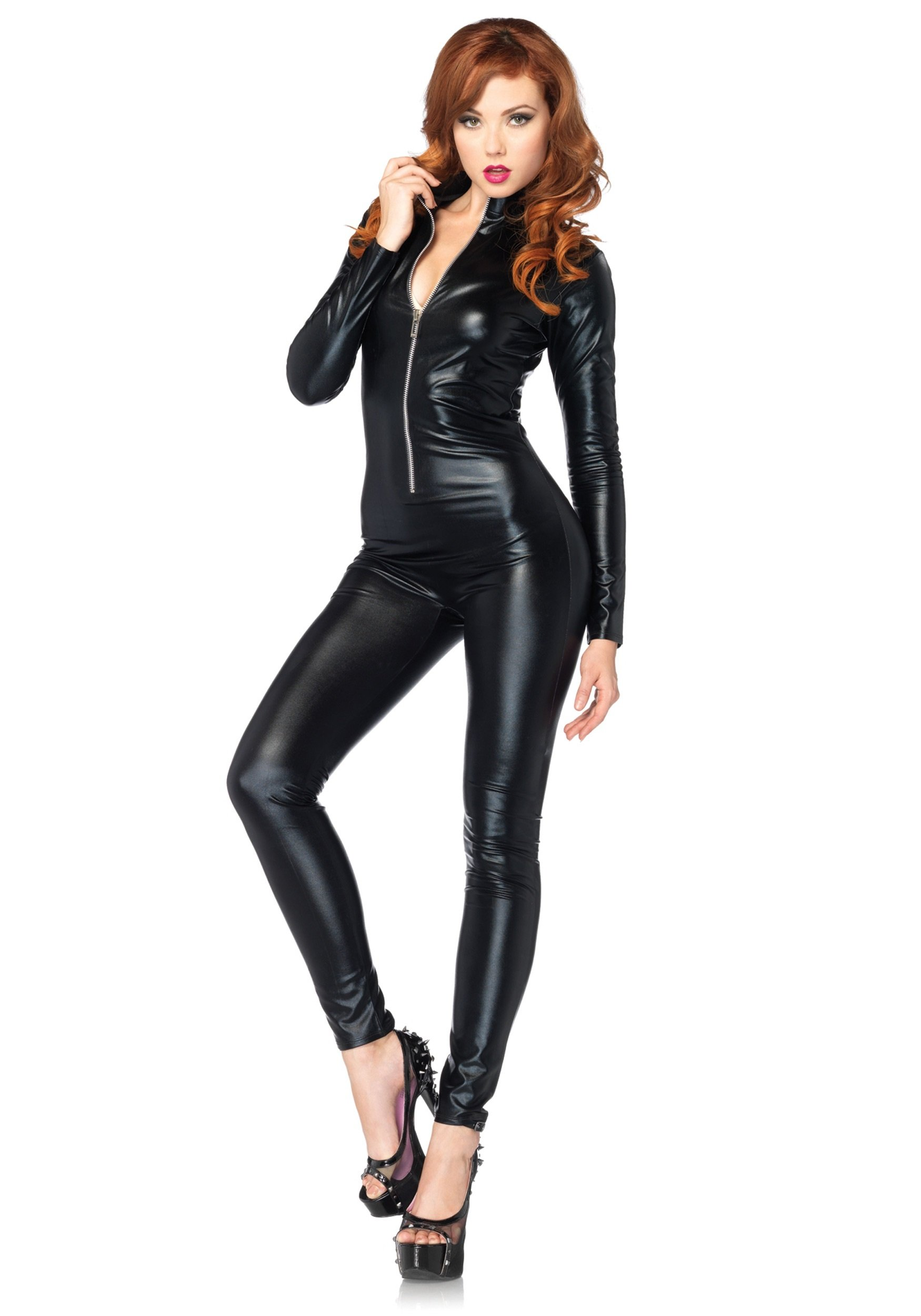 - 71xb0pup4AL - Leg Avenue Women's Wet Look Zipper Front Cat Suit, Black