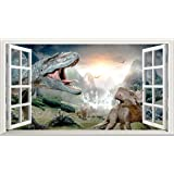 Dino 3d V001Magic Window Sticker mural autocollant Poster Art mural Taille 1000mm de large x 600mm de profondeur (grande)